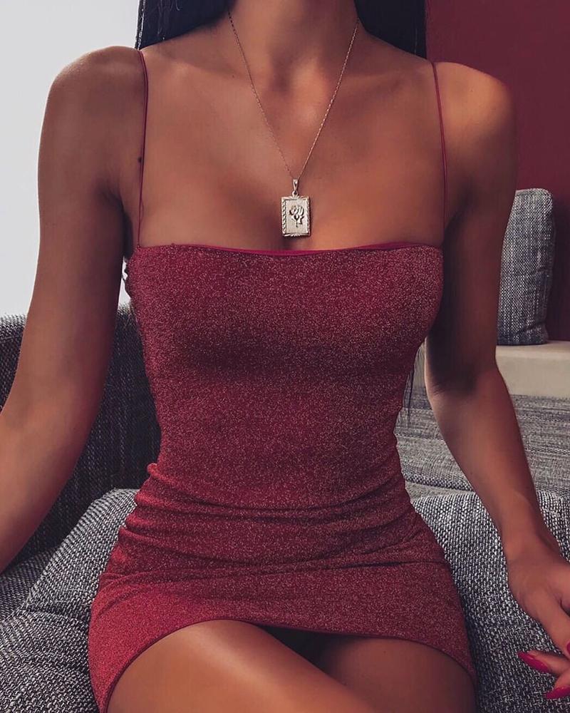 boutiquefeel / Vestido ajustado con tirantes finos con purpurina