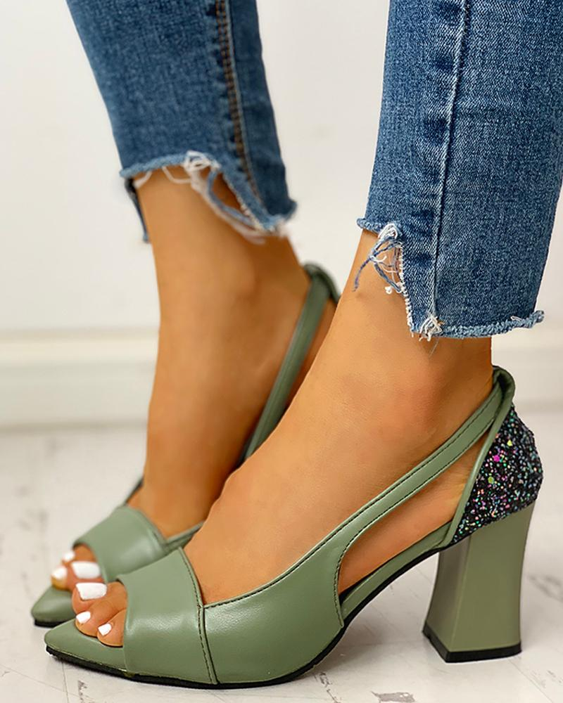 ivrose / Studded Peep Toe Hollow Out Chunky Heel Sandals