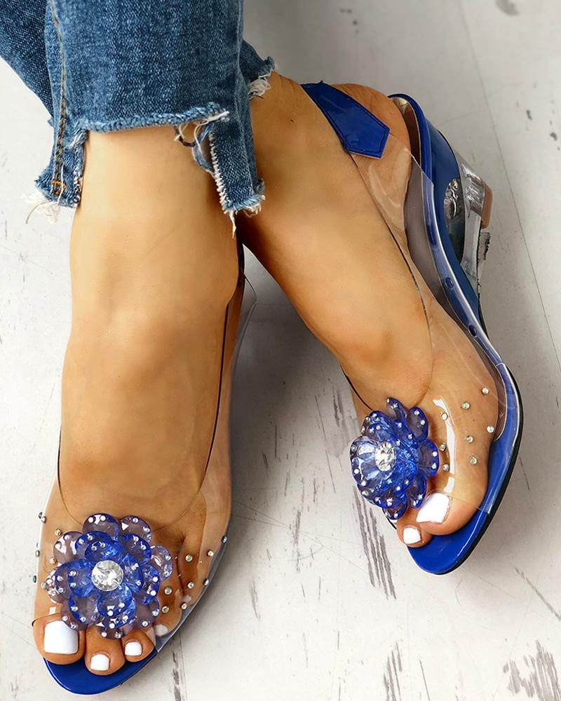 chicme / Studded Flower Design Transparent Wedge Sandals
