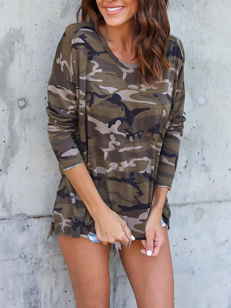 Camouflage Print Split Casual T-shirt