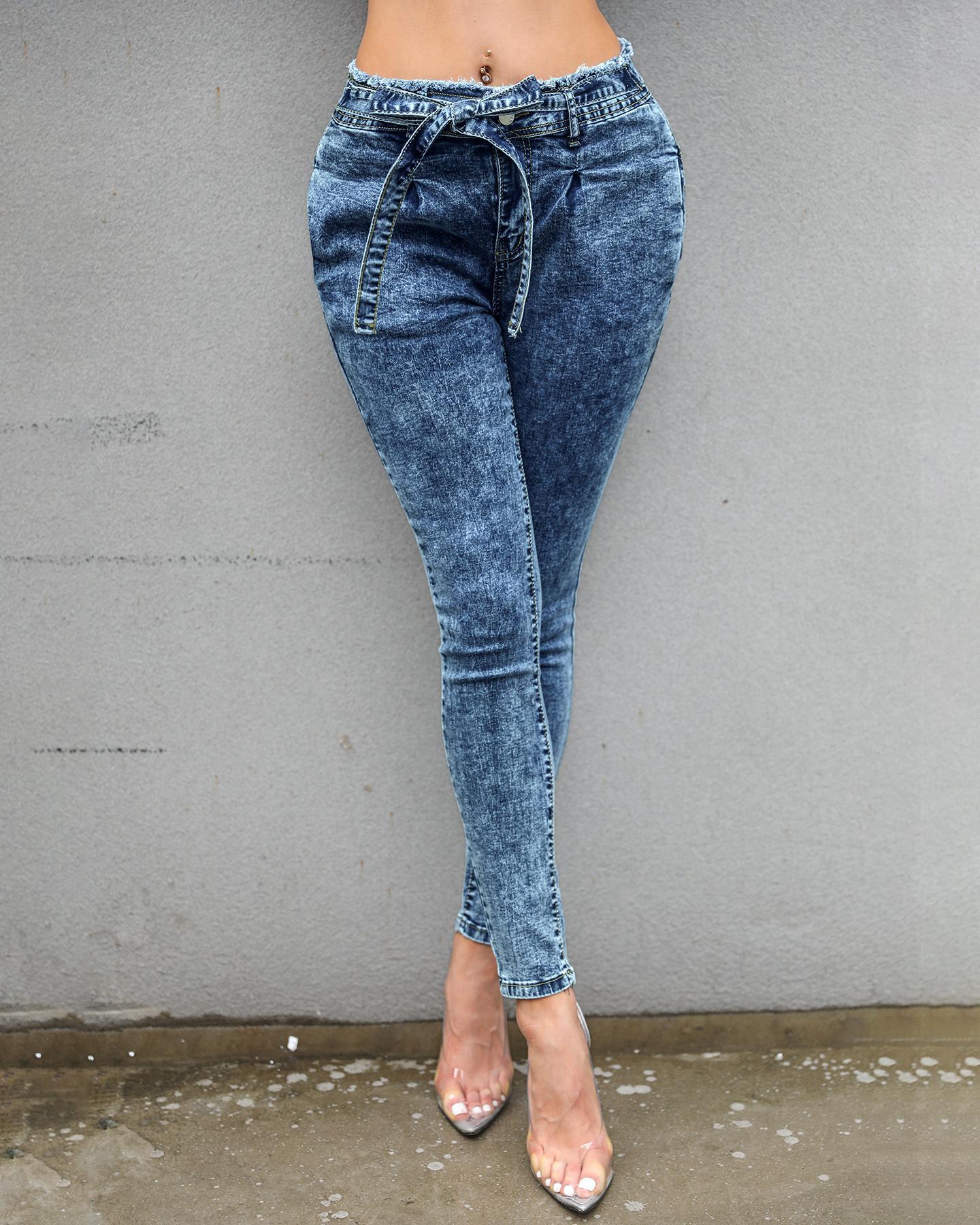 ivrose / Pantalones de mezclilla con dobladillo con flecos en la cintura Paperbag