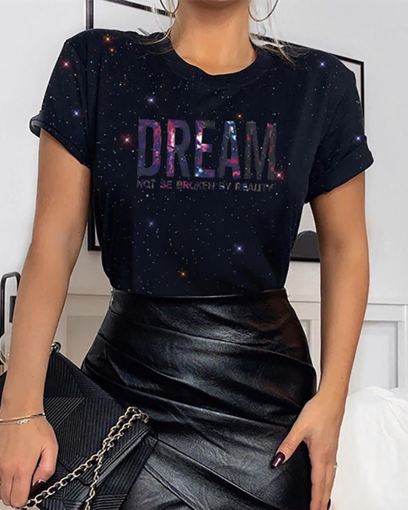Round Neck Sequins Letter T-shirt фото