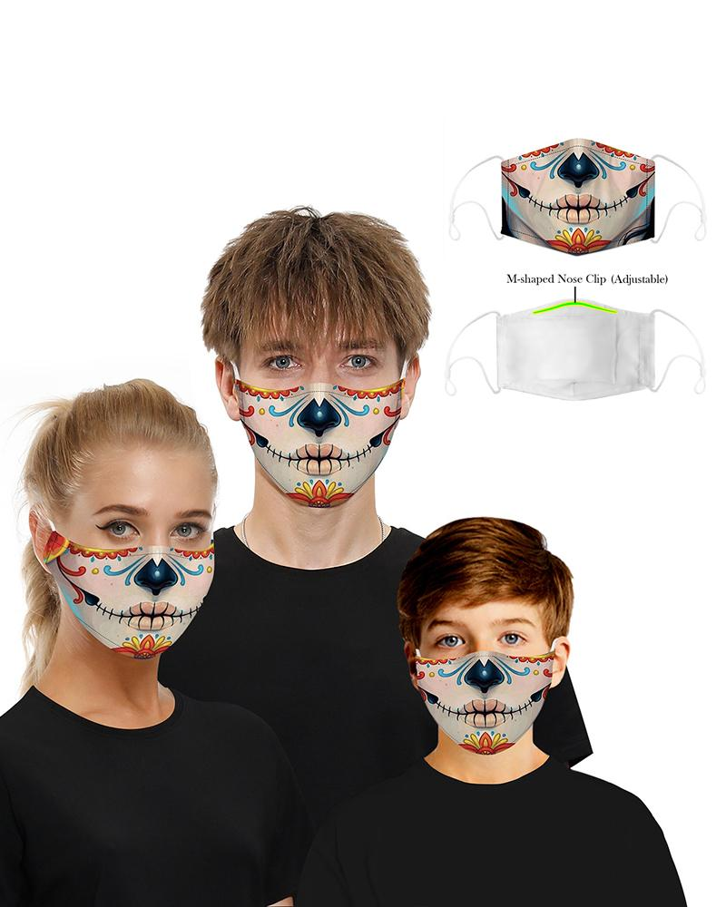 Skull Print Breathable Mouth Mask Washable And Reusable фото