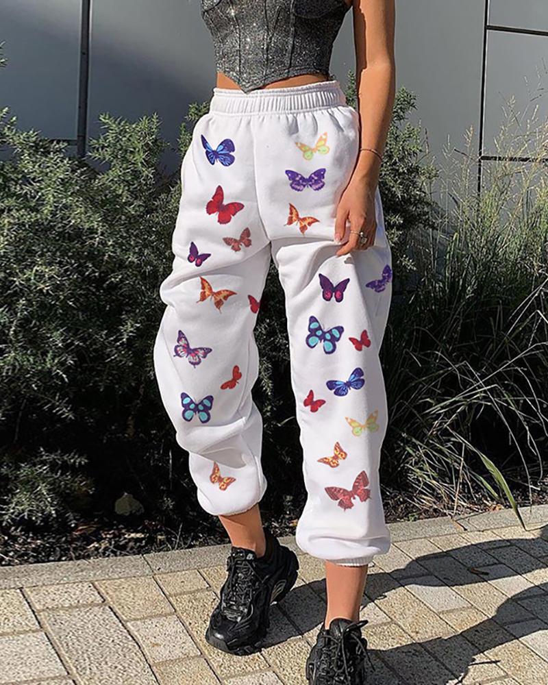 Butterfly Print High Waist Sweatpants фото