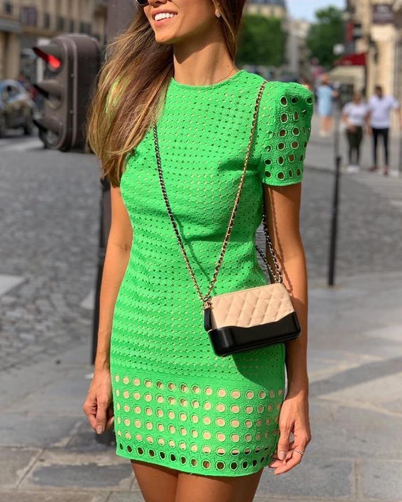 Hollow Out Short Sleeve Bodycon Dress