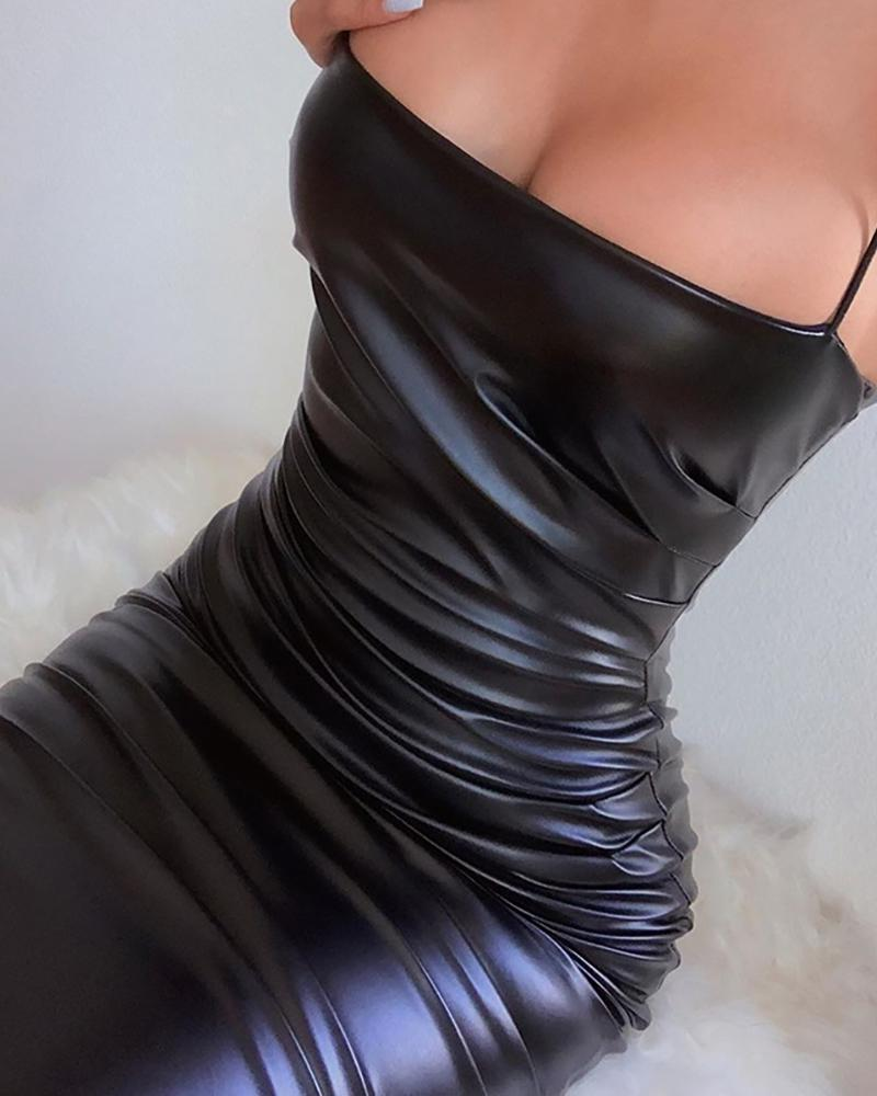Spaghetti Strap Faux Leather Bodycon Dress фото