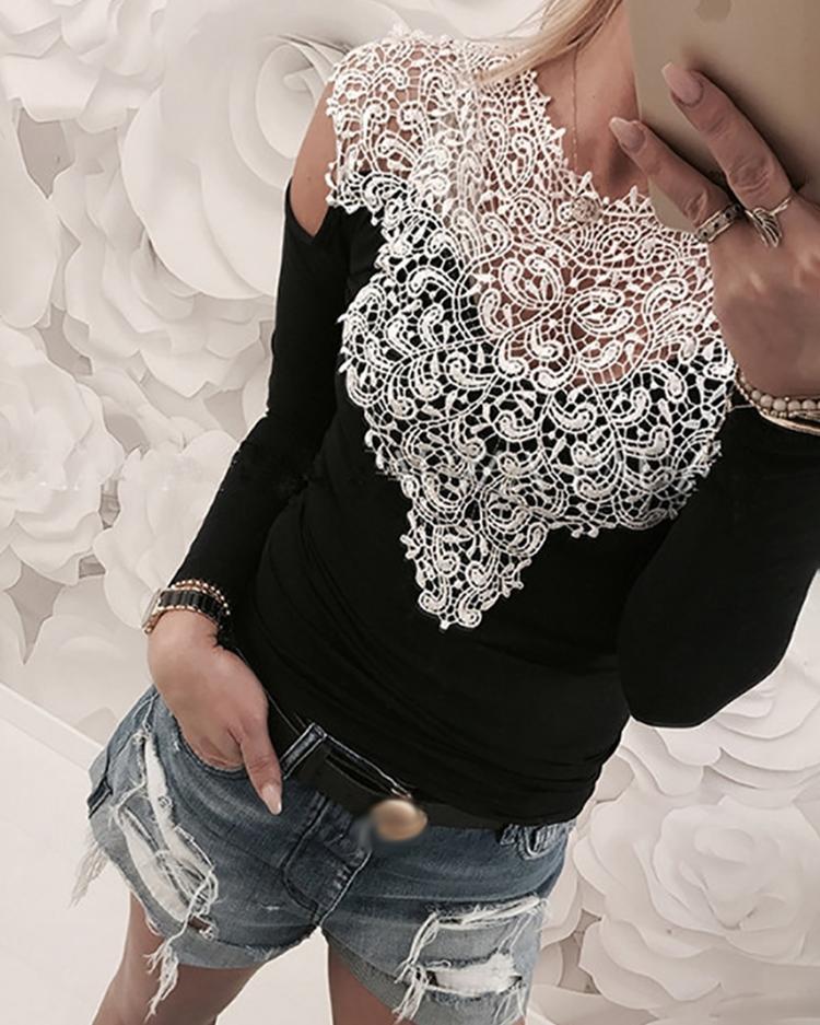 Appliqued Lace Cold Shoulder Blouse, Black