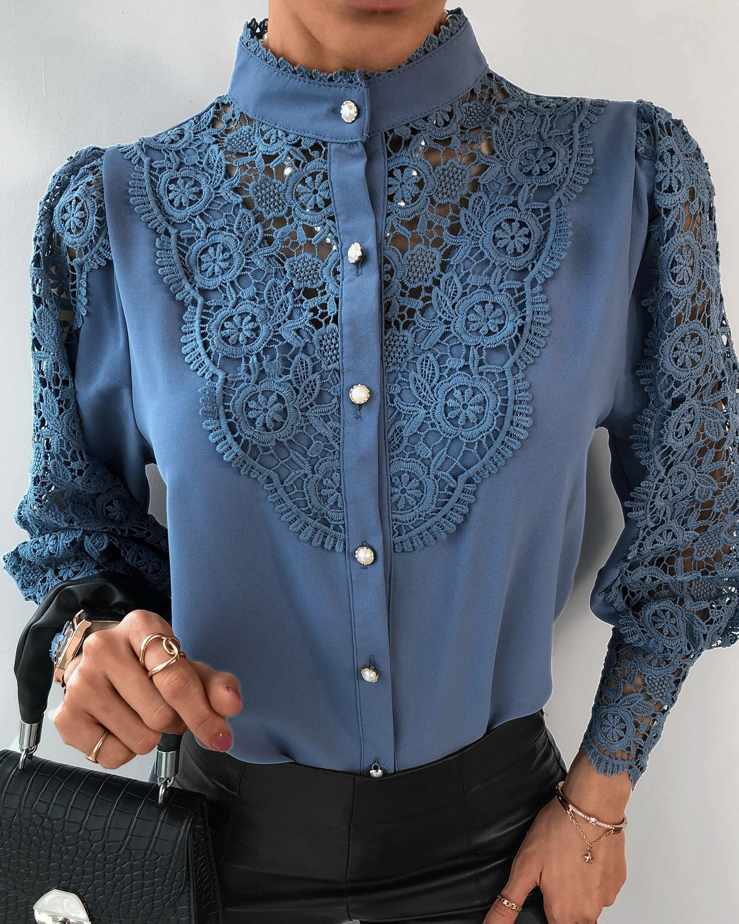 ivrose / Blusa de manga farol con diseño de botones de encaje de guipur