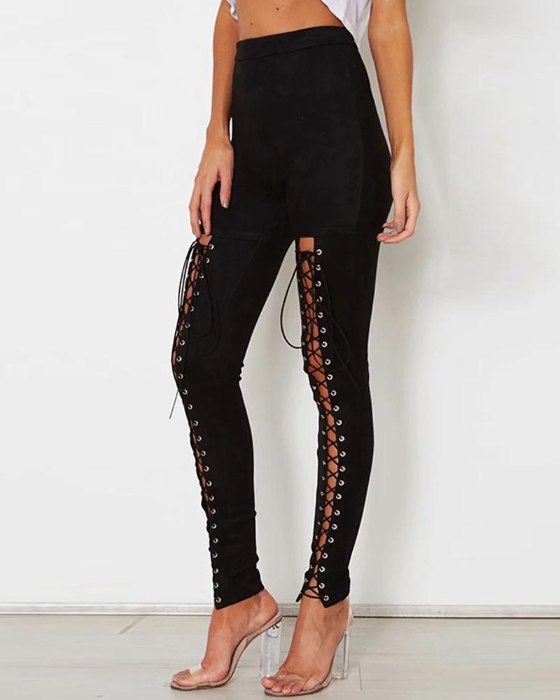 Slit Lace-Up Detail Pants фото