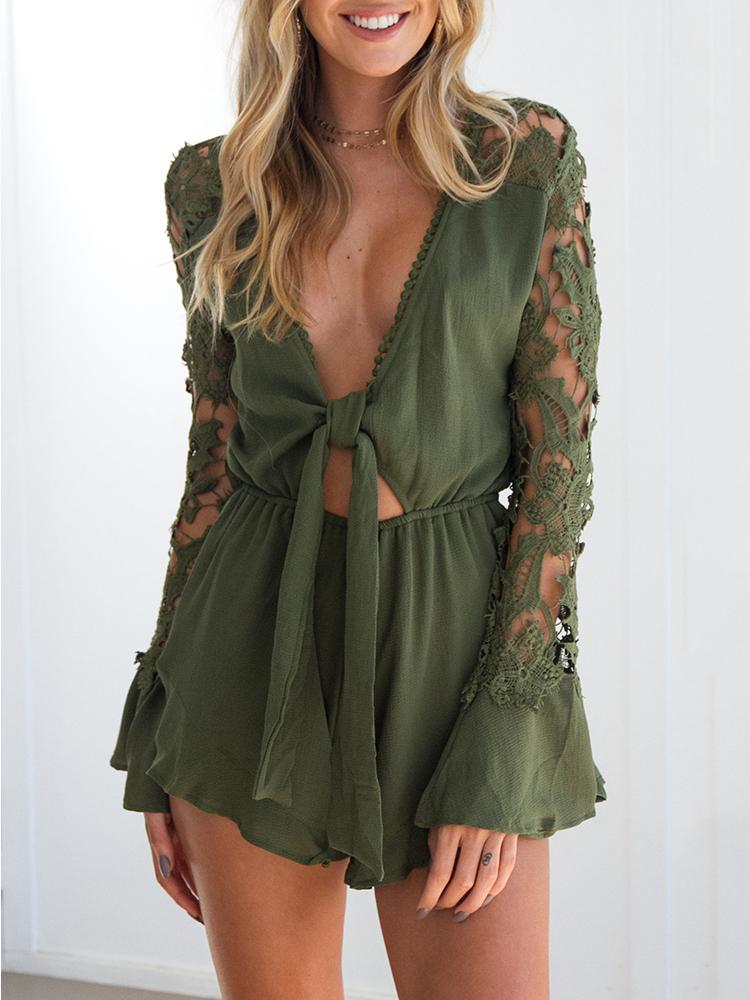 Asymmetric Lace Patchwork Tied Waist Romper - Green