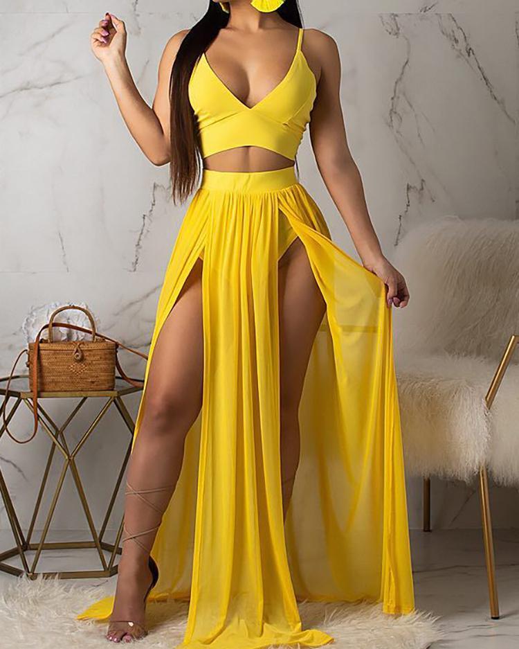Spaghetti Strap Crop Top & Maxi Slit Skirt Sets фото