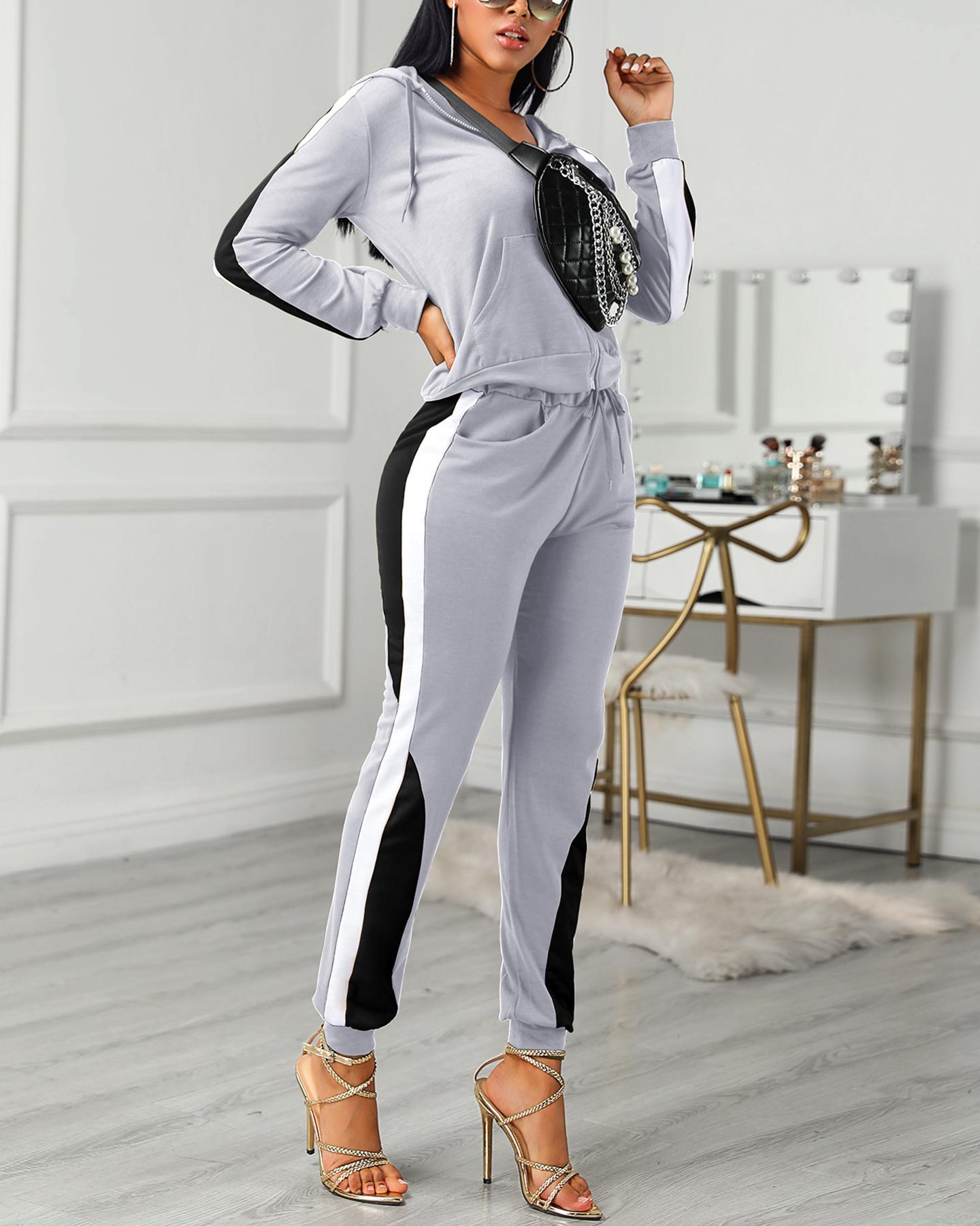 Colorblock Drawstring Design Zipped Top & Pant Sets, Gray
