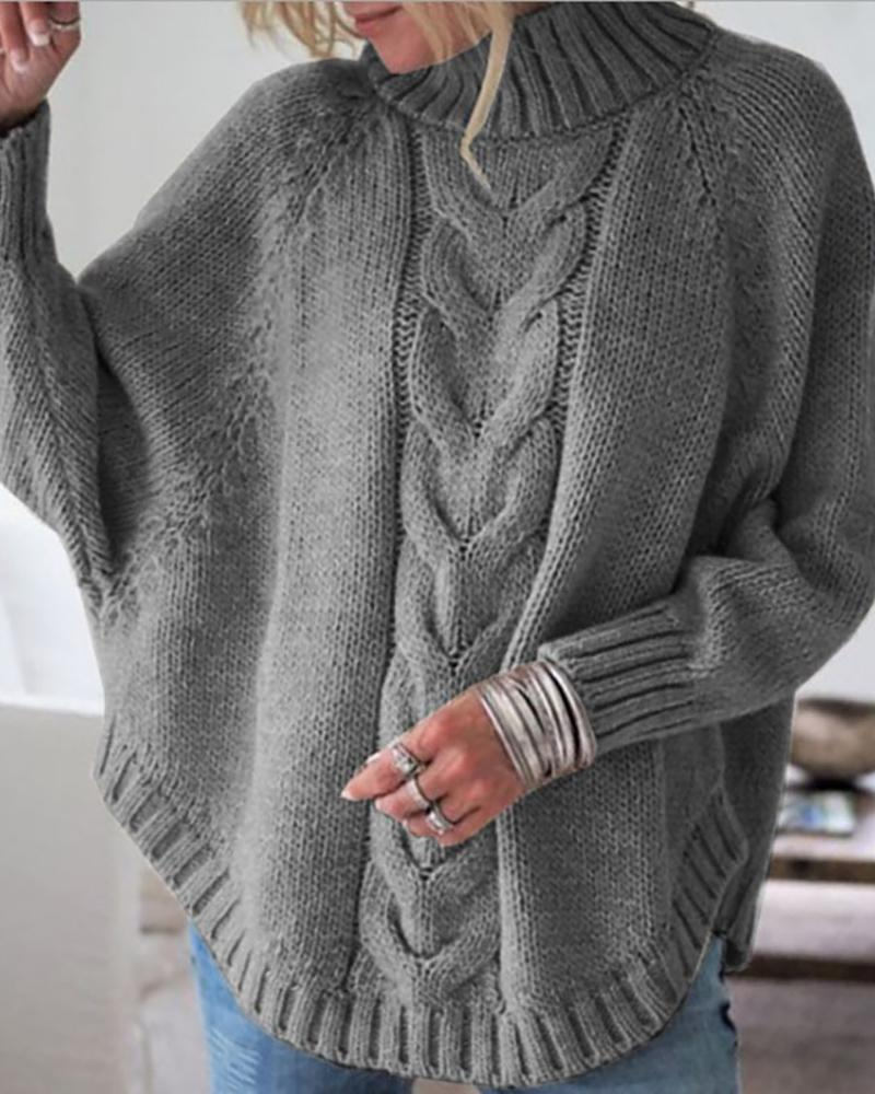 Solid High Neck Batwing Sleeve Sweater фото
