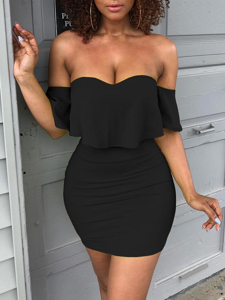 ivrose / Solid Sweetheart Off Shoulder Mini Dress