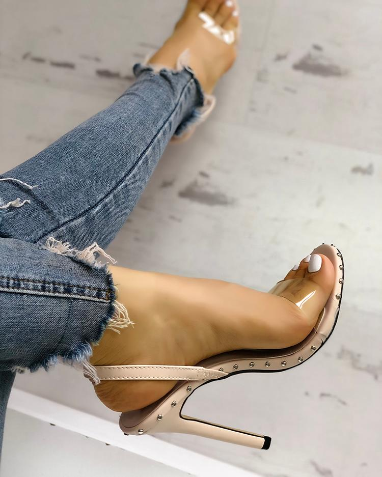 Rivets Embellished Transparent Thin Heeled Sandals