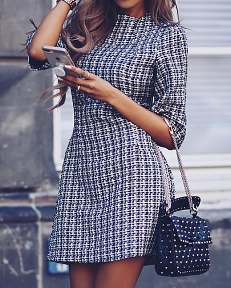 chicme / Houndstooth Half Sleeve Tweed Shift Dress