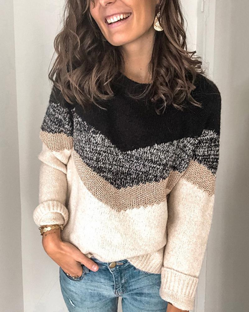 Casual Colorblock Round Neck Sweater фото
