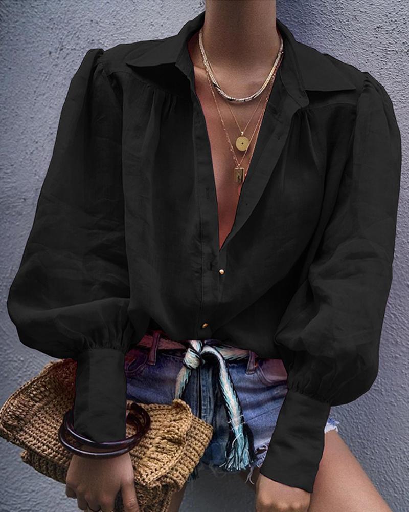 chicme / Camisa casual de manga de linterna sólida