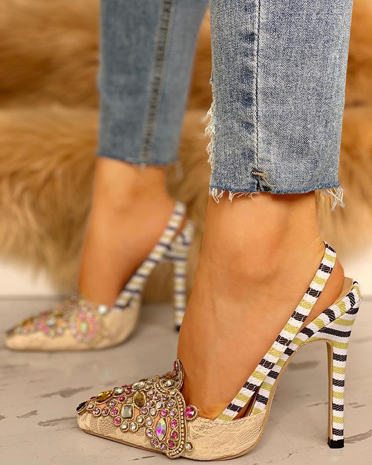joyshoetique / Rhinestone Embellished Striped Lace Insert Thin Heels