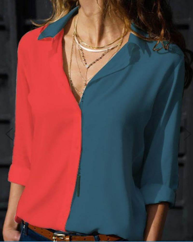 V-Neck Long Sleeve Contrast Color Shirt