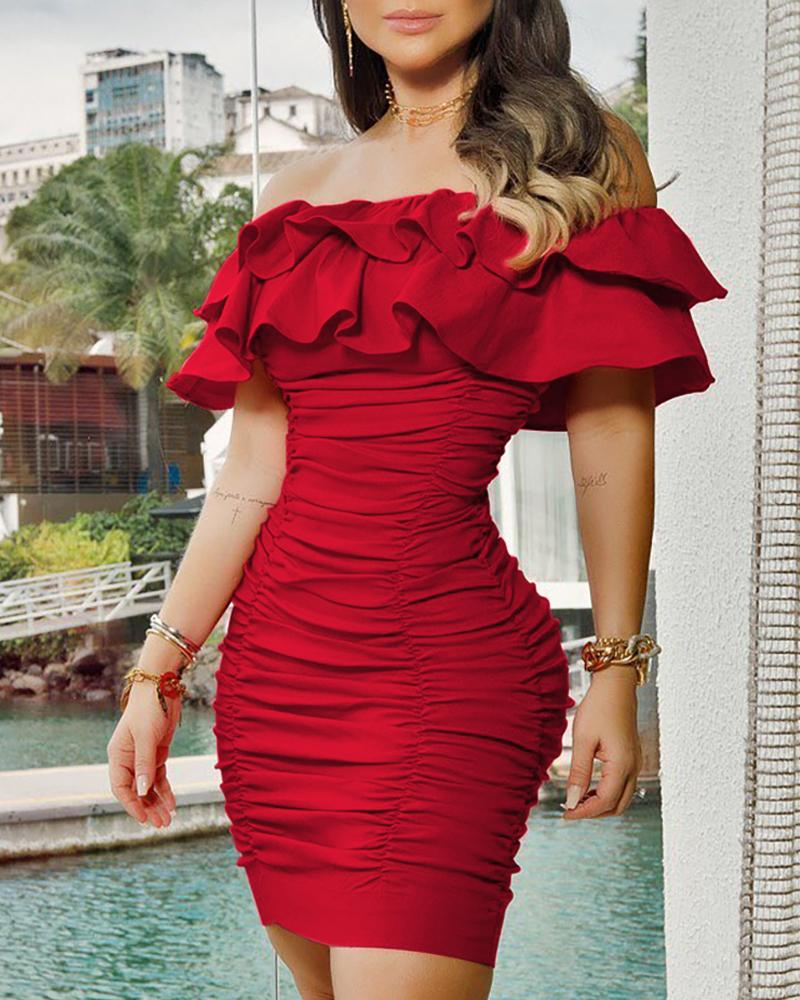 joyshoetique / Solid Off Shoulder Ruched Layered Ruffles Bodycon Dress