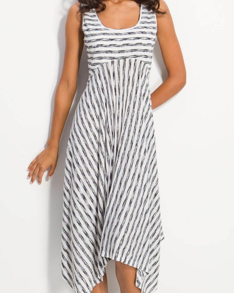 Striped Print Asymmetrical Hem Casual Dress фото