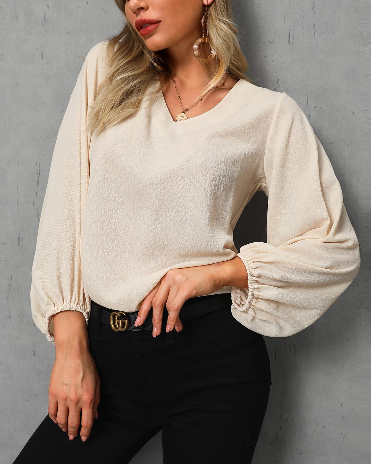 boutiquefeel / Blusa suelta de manga larga con cuello en V