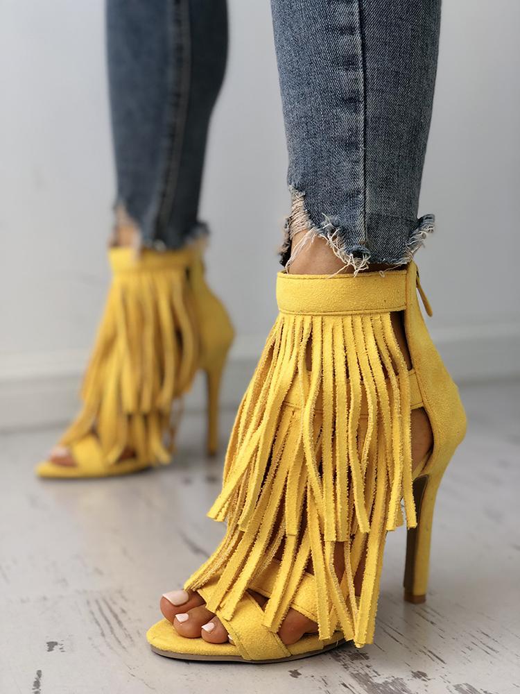 Solid Tassels Multi-Strap Thin Heeled Sandals