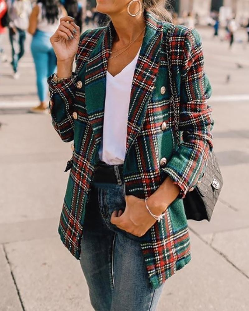Notched Collar Double-breasted Plaid Blazer фото
