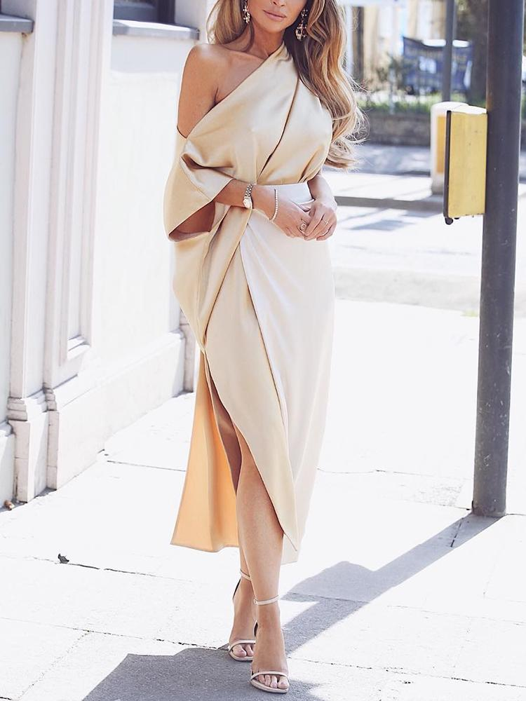 One Shoulder Wrap Side Slit Maxi Dress, Nude