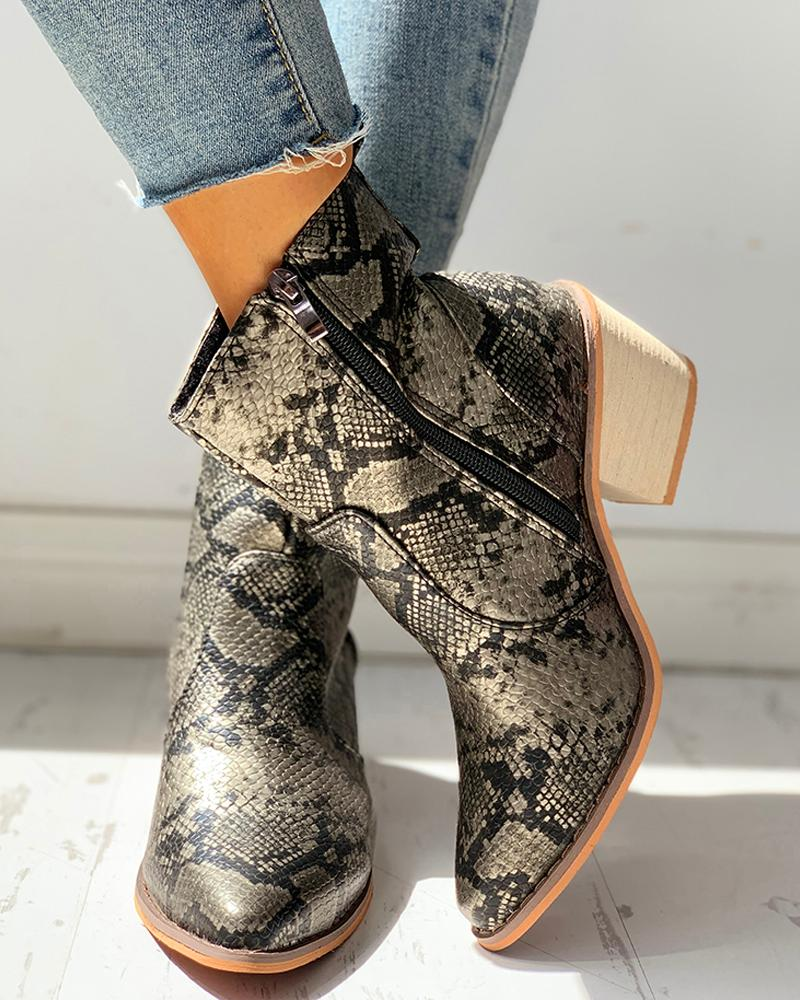 Pointed Toe Snakeskin Zipper Design Chunky Heeled PU Boots