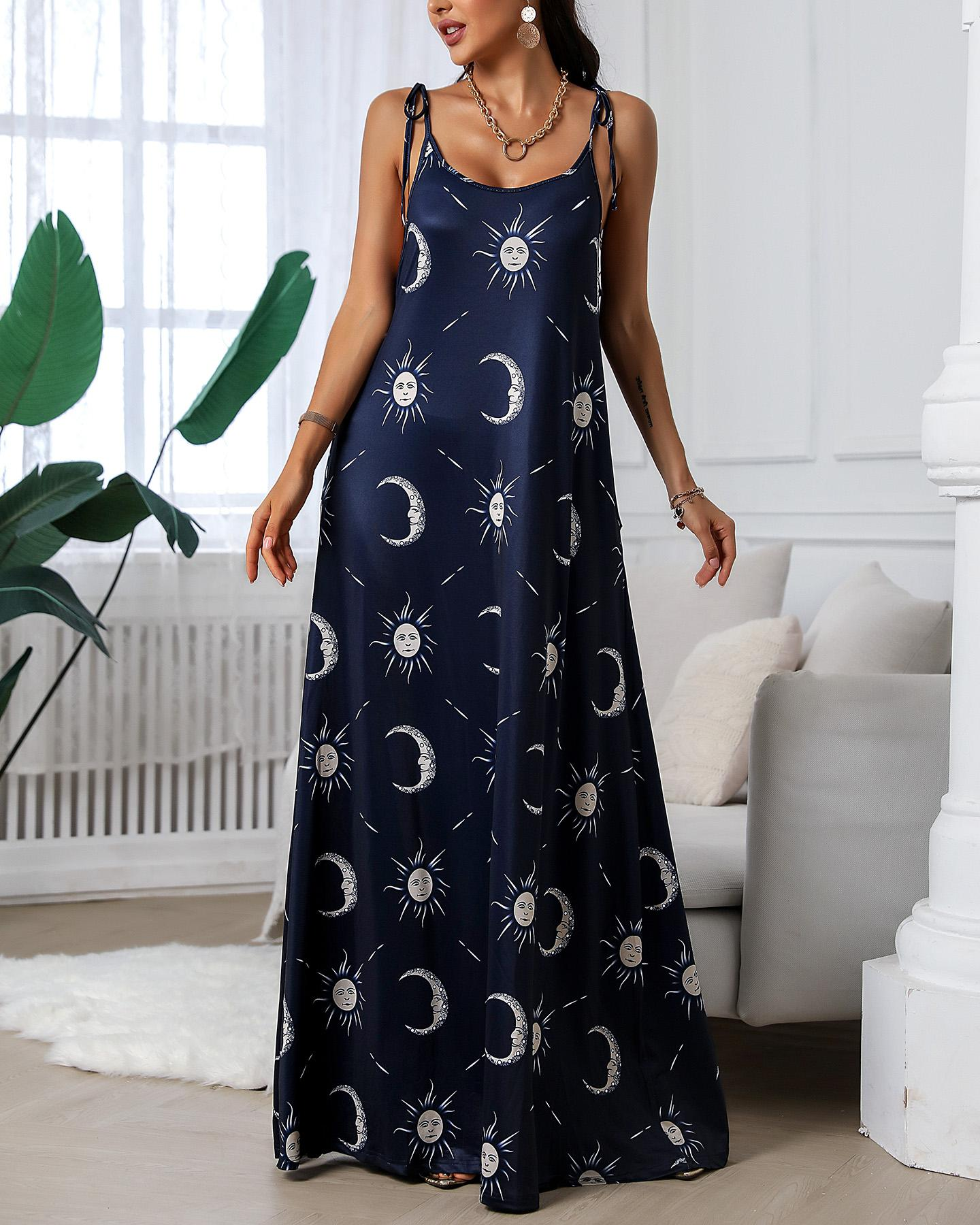 Sun And Moon Print Maxi Dress фото