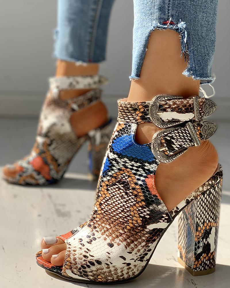 joyshoetique / Snakeskin Ankle Buckled Chunky Heels
