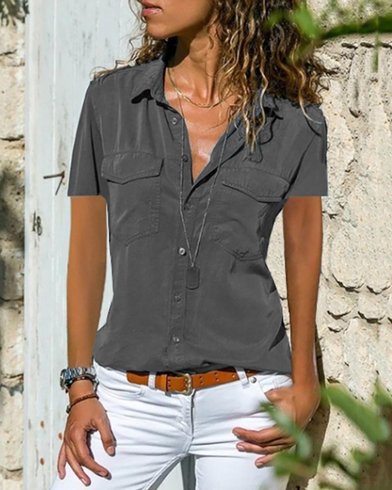Turn Down Collar Pocket Button Up Shirts фото