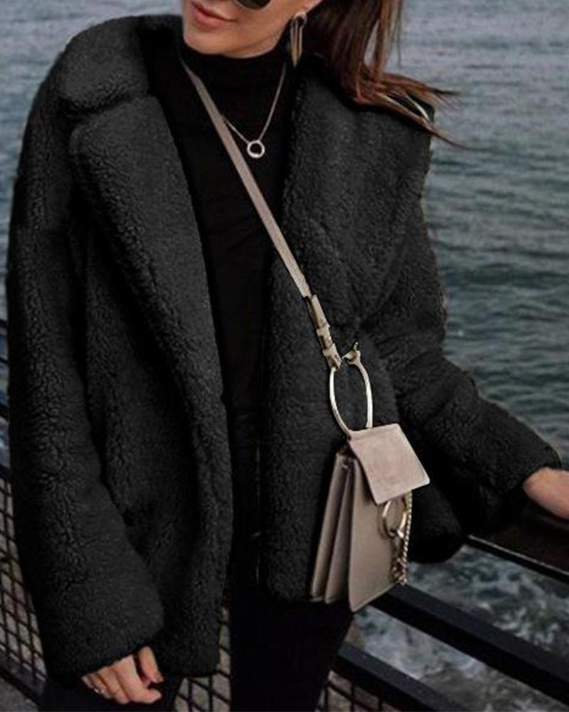 Solid Teddy Faux Fur Coat фото