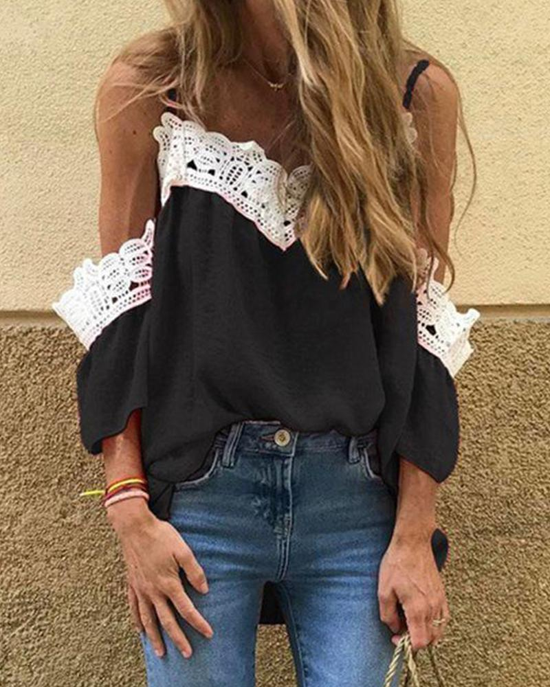 V-Neck Lace Trim Top фото