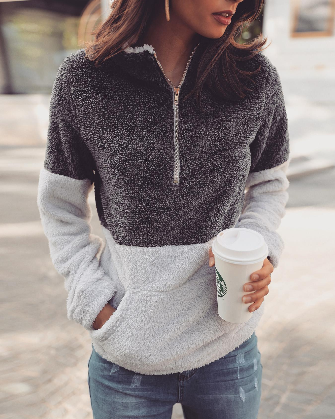 chicme / Contrast Color Quarter Zip Teddy Sweatshirt