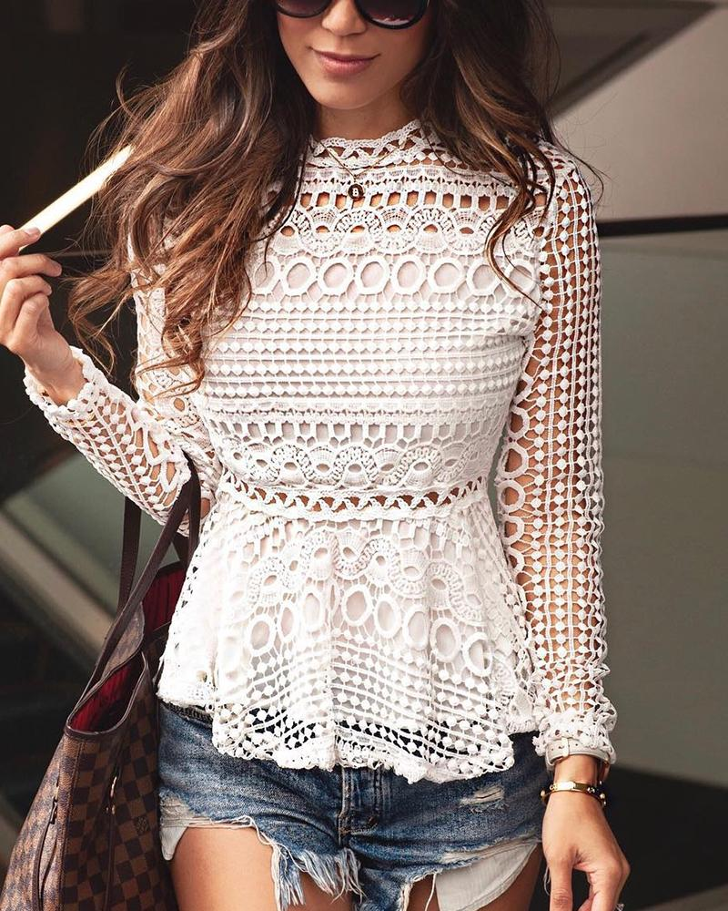 Hollow Out Crochet Ruffles Casual Top