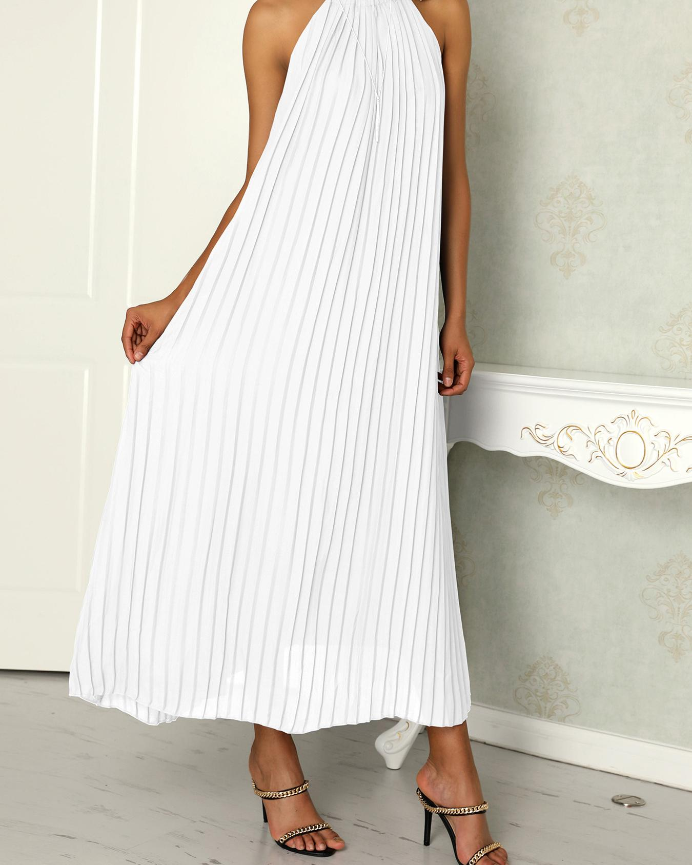 Hot Summer Halter Pleated Casual Maxi Dress