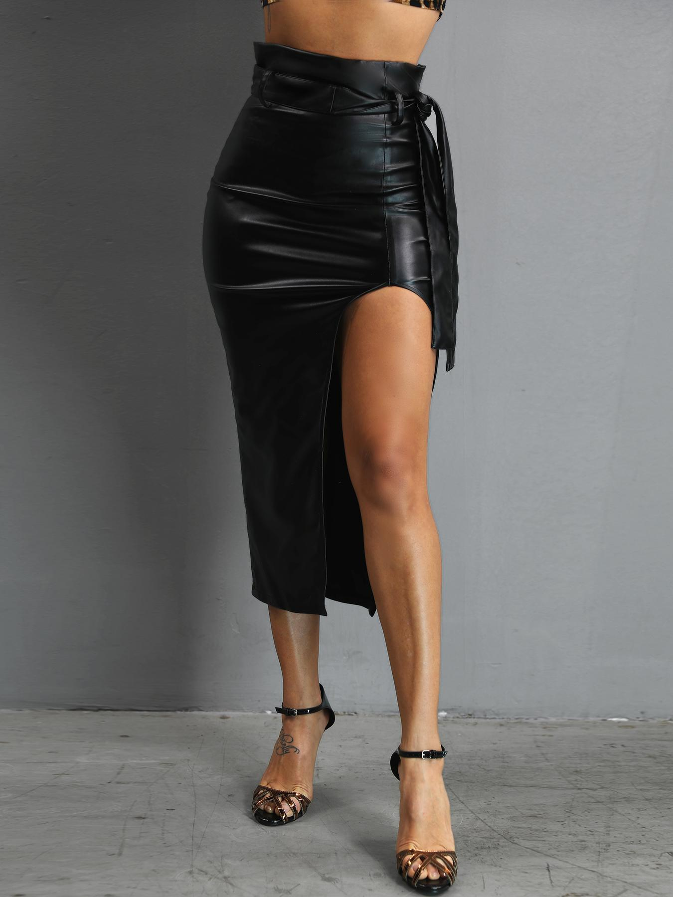 High Waist Slit Belted PU Skirt