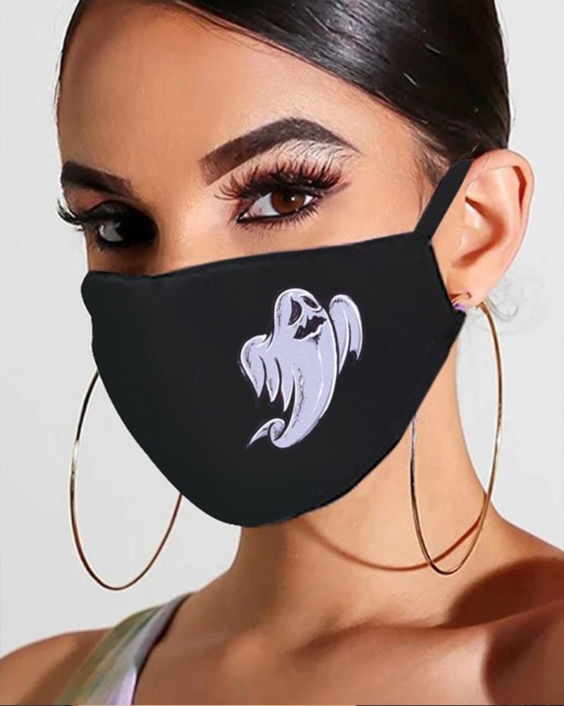 chicme / Máscara de boca respirable con estampado de calavera / fantasma / calabaza de Halloween