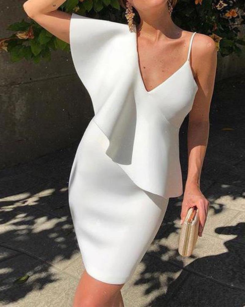 chicme / Sólido sexy com decote em v plissado design vestido de festa