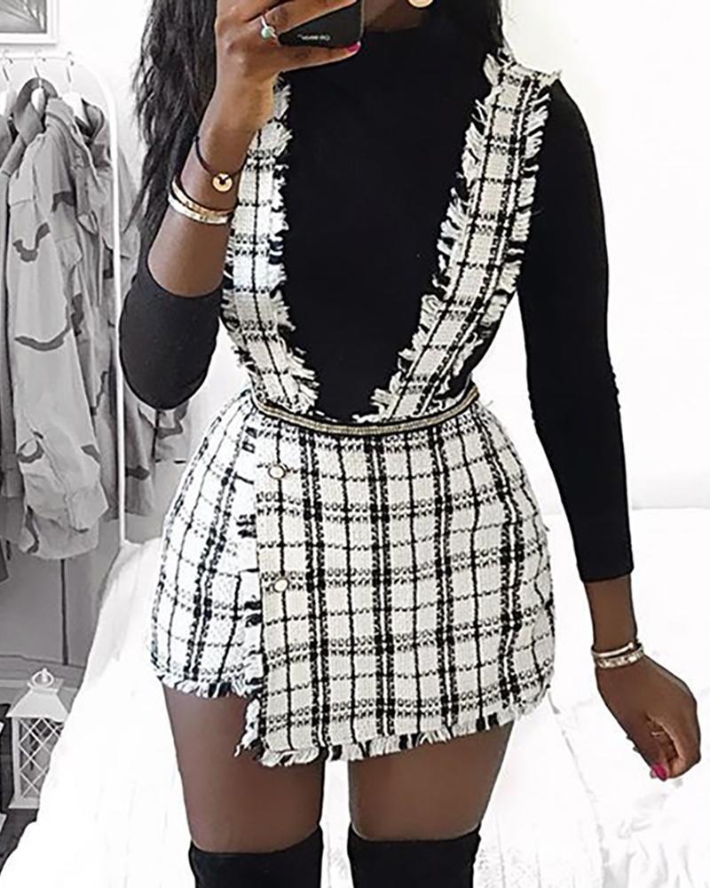 Rove Grid Buttoned Design Suspender Dress фото