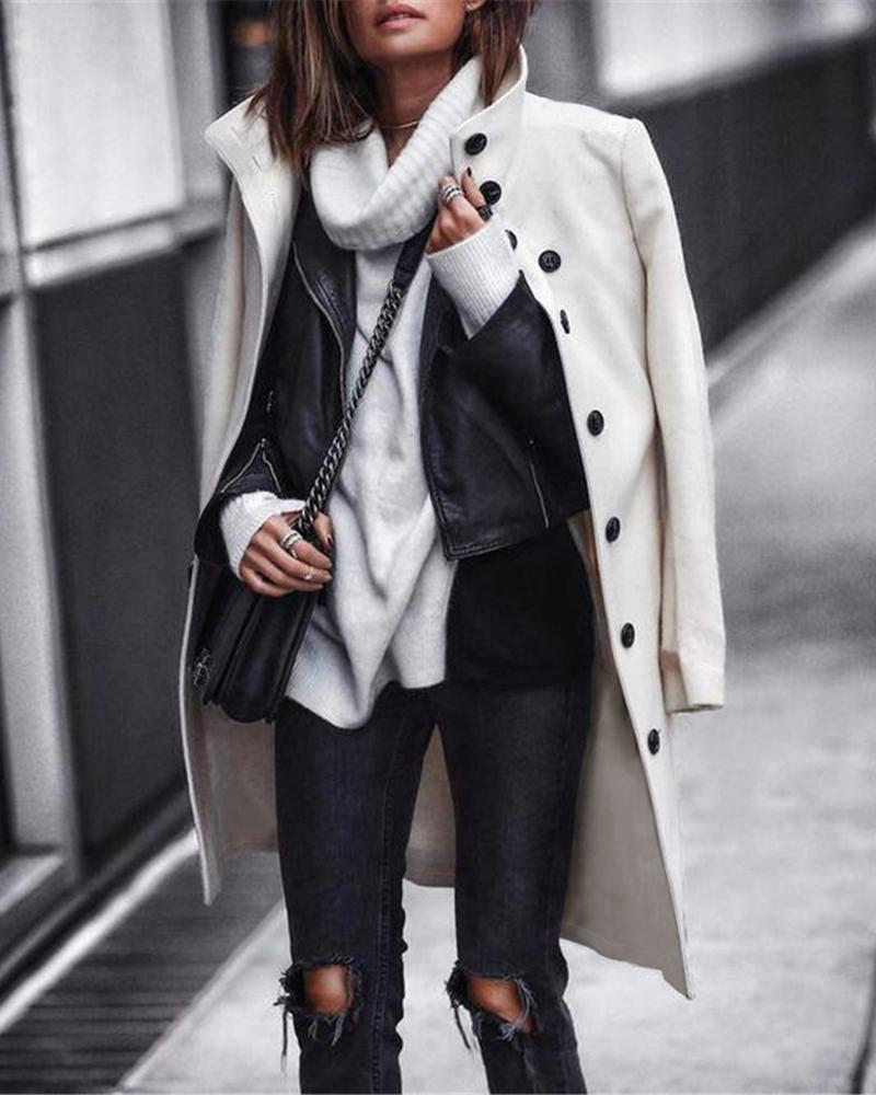 Solid Long Sleeve Buttoned Longline Coat фото