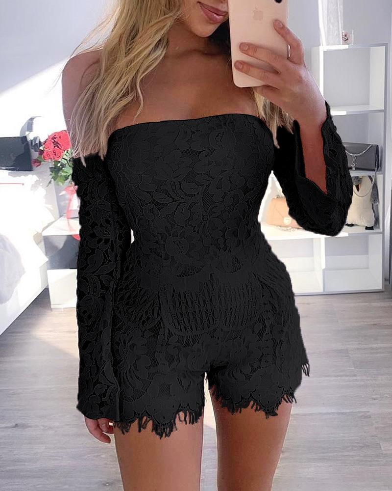 Off Shoulder Eyelash Lace Trimmed Romper фото