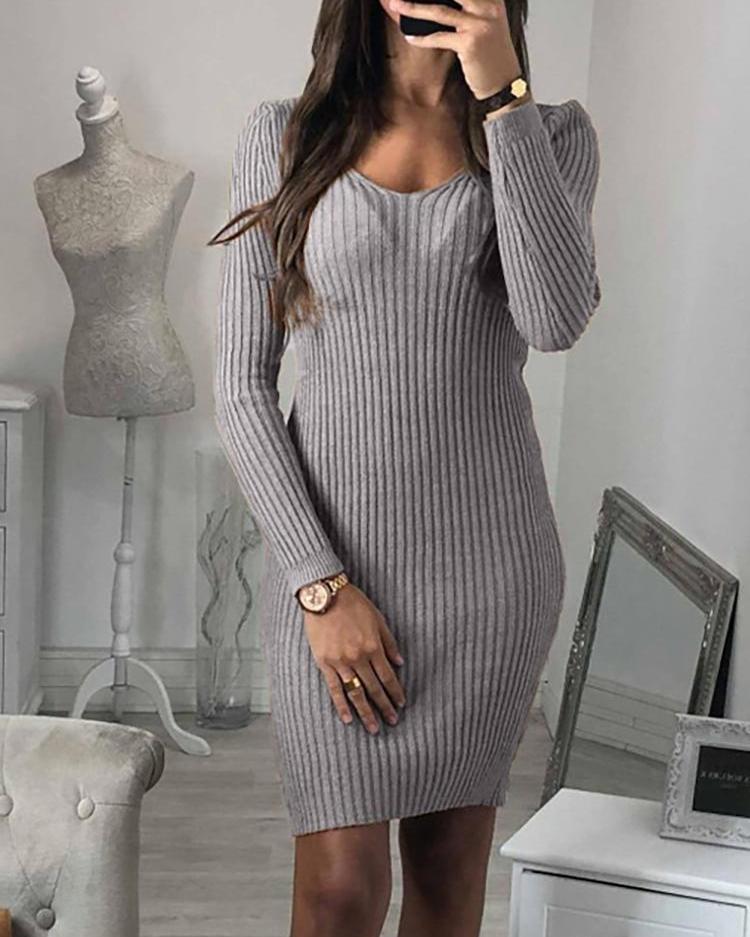 V-Neck Long Sleeve Slinky Dress