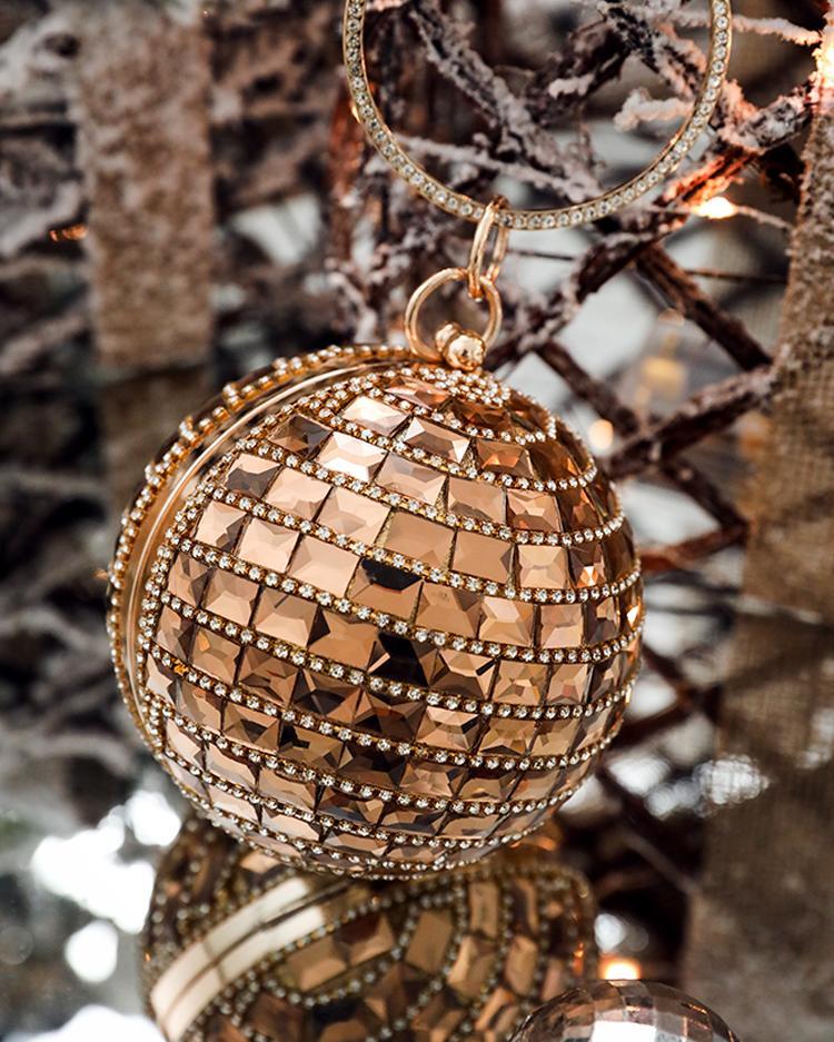 Glitter Metallic Sphere Rhinestone Clutch Bag
