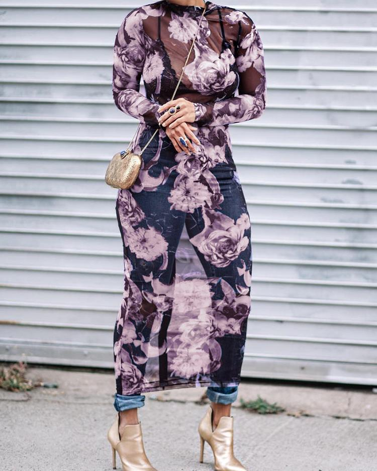 boutiquefeel / Vestido midi a media pierna con corte floral