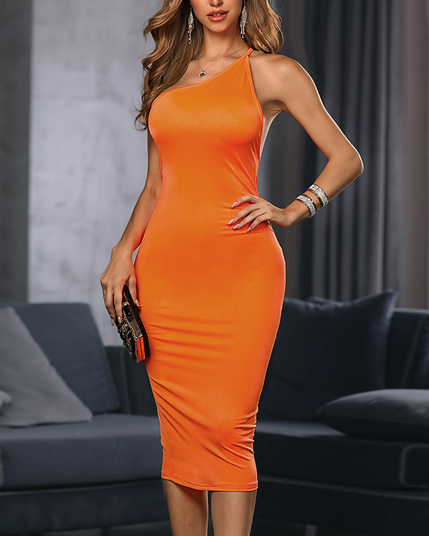 Solid Asymmetrical Neck Bodycon Dress фото