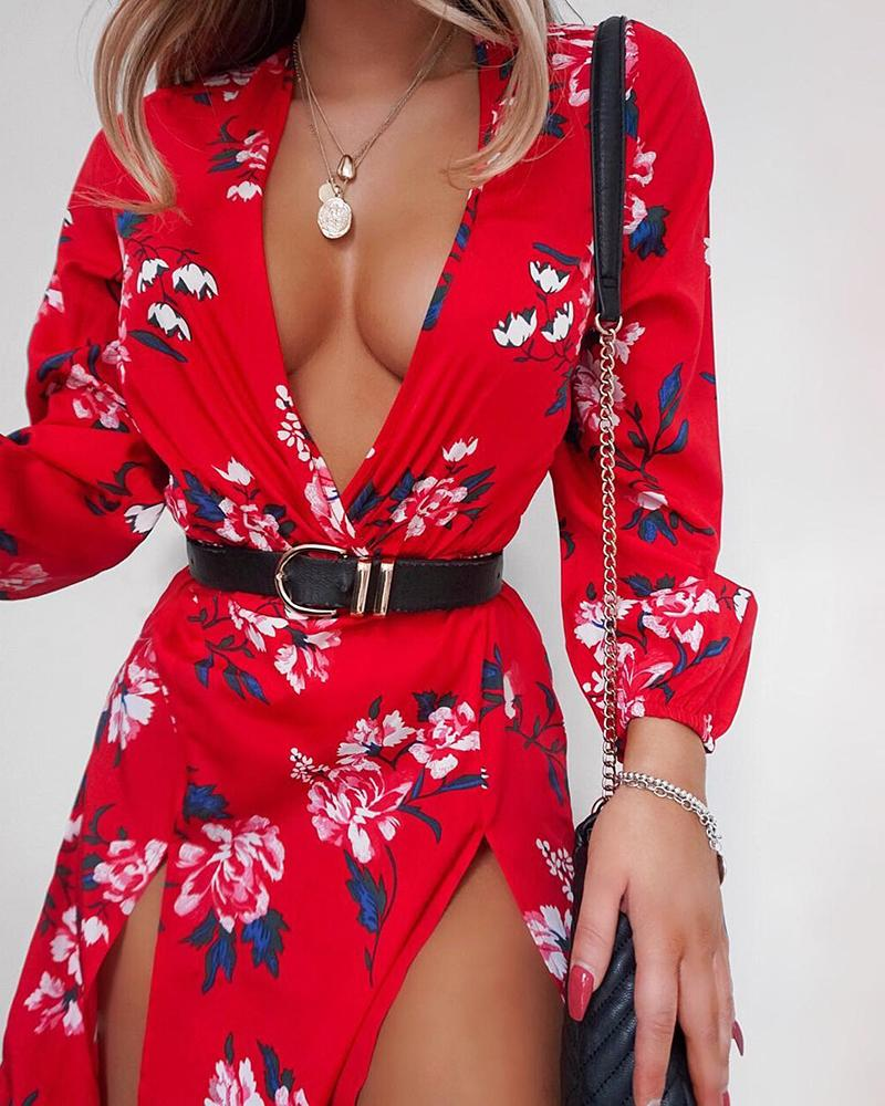 boutiquefeel / Vestido de corte profundo con estampado floral y cuello en V
